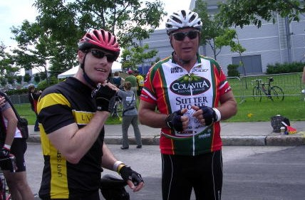 Pat Moir and Randy Scott prepare to ride from Montreal to Quebec City for cancer research.